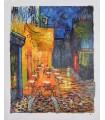 "Terraza de café por la noche-óleo s/lienzo firma ""Gillian"""