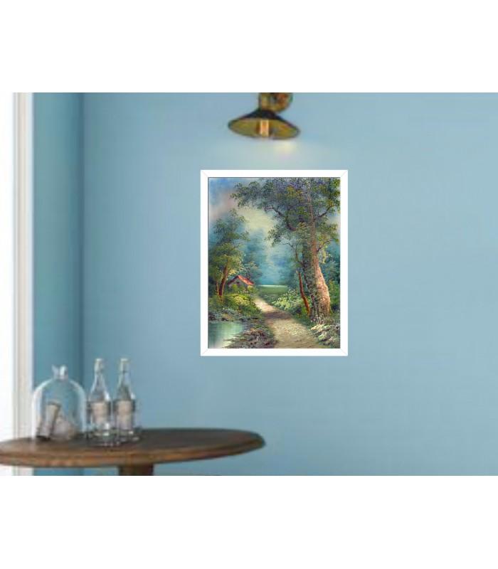 Comprar cuadros flores azules y blancas baratos para for Comprar cuadros baratos